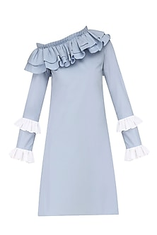 Powder Blue Ruffled Off Shoulder Dress by Manika Nanda