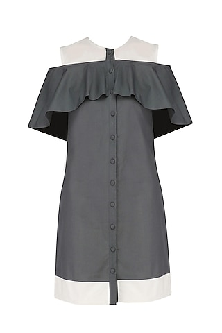 Charcoal Grey Cold Shoulder Cape Dress by Manika Nanda