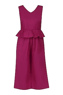 Ruby Pink Peplum Style Cropped Playsuit by Manika Nanda