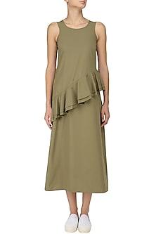 Moss Green Ruffled Midi Dress by Manika Nanda