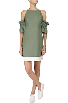Laurel Green Flounce Sleeves Cold Shoulder Dress by Manika Nanda