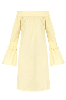 Lemon Yellow Off Shoulder Bell Sleeves Dress by Manika Nanda