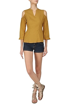 Mustard Cold Shoulder Top by Manika Nanda