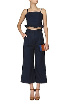 Prussian Blue Ruffled Hem Cropped Top by Manika Nanda