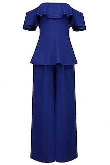 Electric Blue Off Shoulder Peplum Top and Pants Set by Manika Nanda