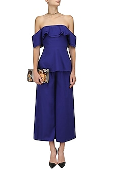 Electric Blue Off Shoulder Peplum Top and Pants Set by Manika Nanda