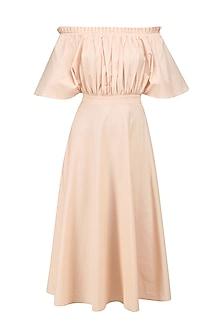 Powder Peach Blusson Style Off Shoulder Midi Dress by Manika Nanda