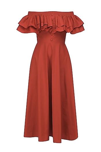 Flaming Orange Ruffled Midi Dress by Manika Nanda