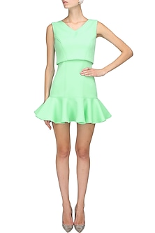 Mint green flared hem overlay babydoll dress by Manika Nanda