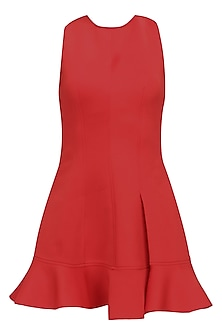 Flaming red crisscross back flounce dress by Manika Nanda