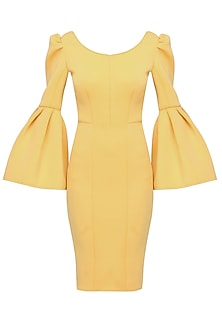 Honey yellow bell sleeved open back dress by Manika Nanda