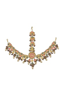 Gold Finish Pearl Floral Mathapatti by Mine of Designs