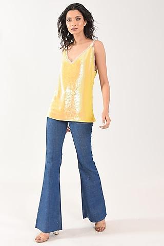 Yellow Sequins Weave Cami Top by MXS - Monisha Jaising X Shweta Bachchan Nanda