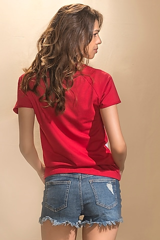 Red & White Printed T-Shirt by MXS - Monisha Jaising X Shweta Bachchan Nanda