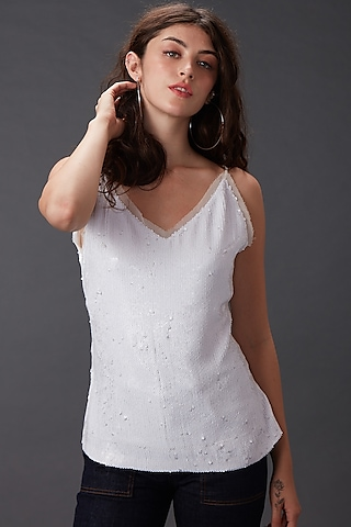 White Snow Angel Cami Top by MXS - Monisha Jaising X Shweta Bachchan Nanda
