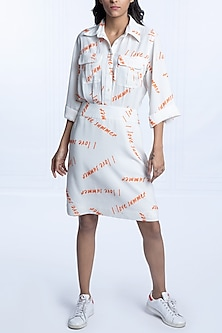 White Printed Collared Dress by Monisha Jaising X Shweta Bachchan Nanda
