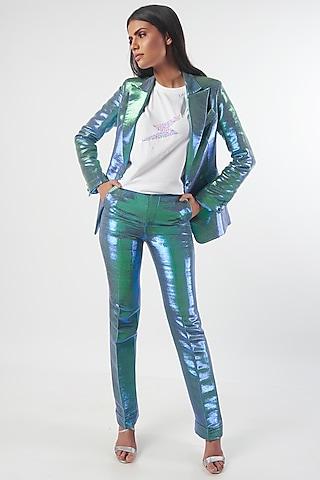 Blue Metallic Shiny Blazer by MXS - Monisha Jaising X Shweta Bachchan Nanda