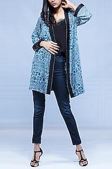 Blue Printed Leopard Robe by Monisha Jaising X Shweta Bachchan Nanda