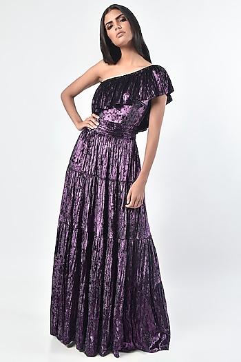 Purple One Shoulder Dress by Monisha Jaising X Shweta Bachchan Nanda