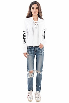 White Embroidered Knotted Sweatshirt by Monisha Jaising X Shweta Bachchan Nanda
