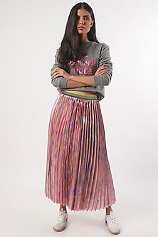 Pink Hand Painted Palm Skirt by Monisha Jaising X Shweta Bachchan Nanda