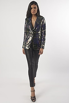 Multi Colored Embroidered Blazer by Monisha Jaising X Shweta Bachchan Nanda