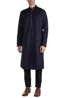Navy Blue Embroidered Kurta by More Mischief