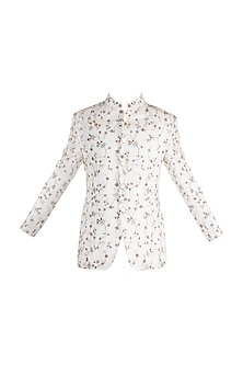 White Embroidered Bandhgala Jacket by More Mischief