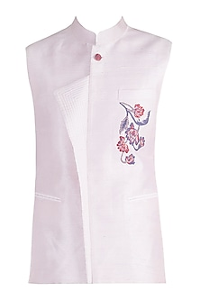 Powder Pink Embroidered Bundi Jacket by More Mischief