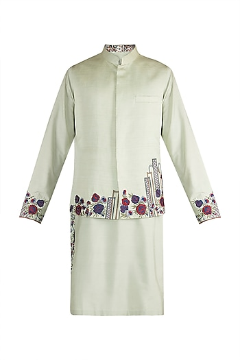Mint Green Embroidered Bundi Jacket With Kurta by More Mischief