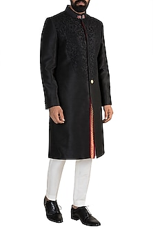 Black embroidered Sherwani Set by More Mischief