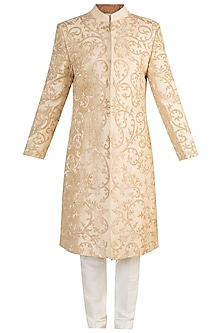 Beige Applique Sherwani Set by More Mischief