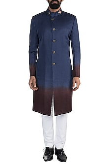 Blue Ombre Embroidered Sherwani With Trouser Pants by More Mischief