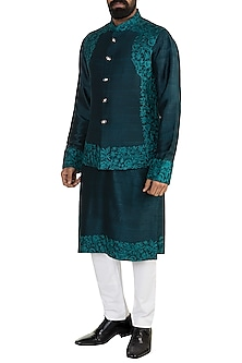 Emerald Green Embroidered Bundi Jacket With Kurta by More Mischief