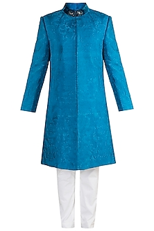 Blue Embroidered Sherwani With Trouser Pants by More Mischief