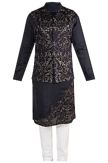 Regal Blue Embroidered Bundi Jacket With Kurta by More Mischief