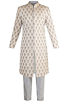 Grey Embroidered Sherwani Set by More Mischief