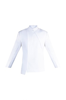 White Linen Bandhgala Jacket by More Mischief