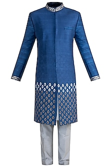 Cobalt Blue Embroidered Sherwani Set by More Mischief