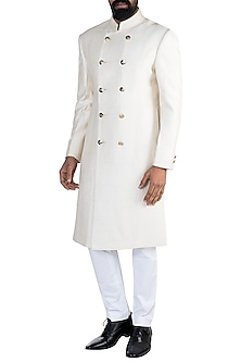 Off White Embroidered Sherwani With Trouser Pants by More Mischief