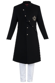 Black Embroidered Sherwani With Trouser Pants by More Mischief