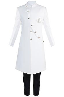 White Embroidered Sherwani With Pants by More Mischief