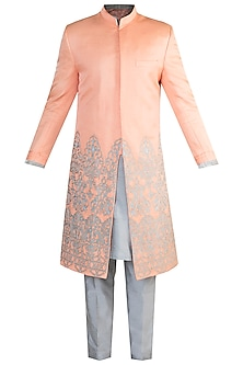 Peach Embroidered Sherwani Set by More Mischief