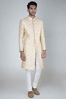 Beige Embroidered Sherwani With Off White Pants by More Mischief