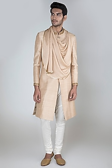 Beige Embroidered Cowl Drape Sherwani With Pants by More Mischief