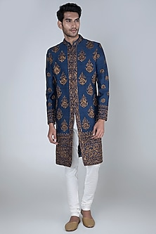 Navy Blue Embroidered Sherwani With Greyish White Pants by More Mischief