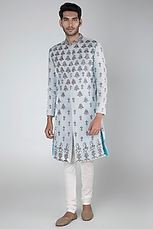 Sky Blue Embroidered Sherwani With Off White Pants by More Mischief