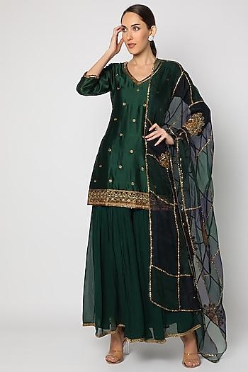 Bottle Green Hand Embroidered Sharara Set by Mona & Vishu