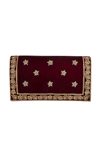 Maroon Hand Embroidered & Sewed Taj Clutch by MKNY