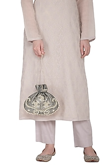 Grey Hand Embroidered Berkshire Potli by MKNY